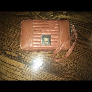 Juicy couture brown leather wristlet
